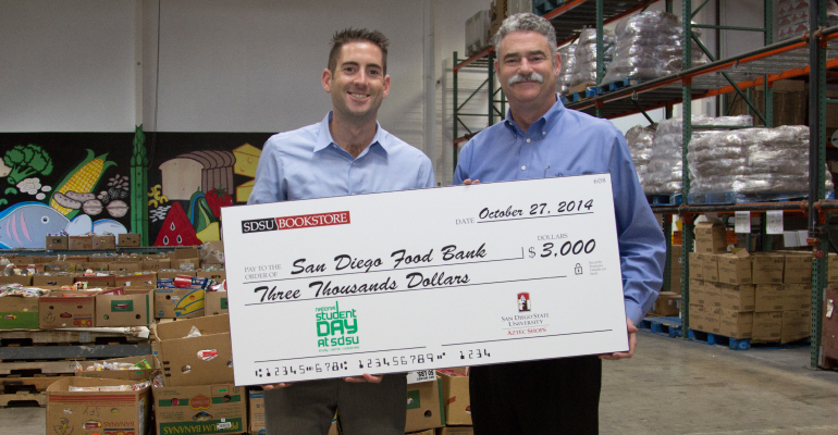 A photo of a donation to the San Diego Food Bank.
